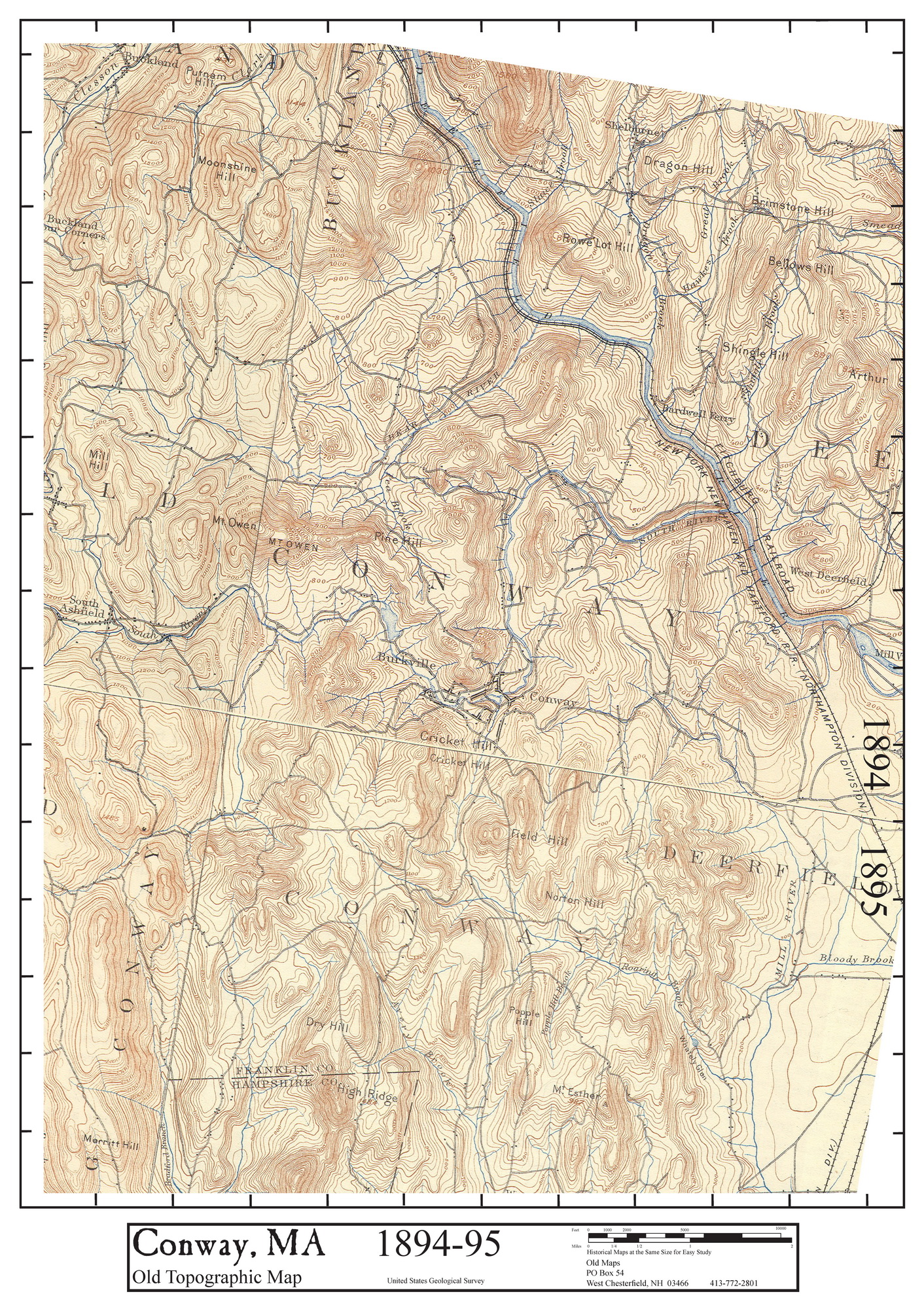 Topographic Map Massachusetts.Historic Maps Of Conway